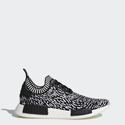 Adidas Originals NMD_R1 Primeknit Donna Scarpe BY3013 Core Nero, Footwear Bianco